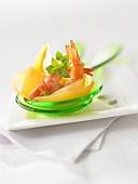 Prawn salad on salad servers