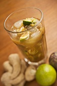 Cocktail made with ginger, lime and rum