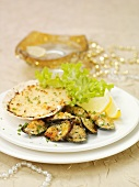 Shellfish with gratin topping