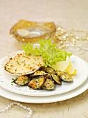 Shellfish with gratin topping