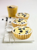 Blueberry and vanilla cream tarts with icing sugar