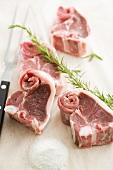 Fresh lamb chops, salt and rosemary sprig