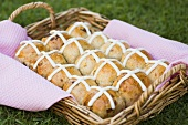 Hot cross buns on wicker tray
