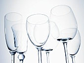 Assorted empty wine and sparkling wine glasses