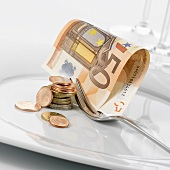 Euro notes and coins on plate with fork