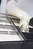 Making mozzarella (tipping the curd into containers)
