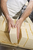 Sorting blocks of butter