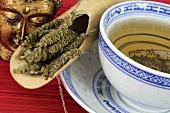 Schizonepeta tea (Japanese catnip) in Asian bowl