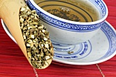 Dried Chinese motherwort and bowl of tea