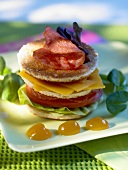 Tomato, bacon and cheese sandwich tower