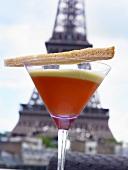 Gazpacho im Martiniglas vor Eiffelturm (Paris, Frankreich)