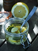 Pickled garlic with lemon and herbs