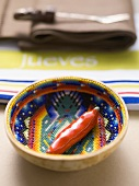 Chilli in coloured bowl (table decoration from Mexico)