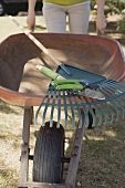 Woman with wheelbarrow and garden tools