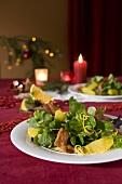 Corn salad with orange segments and bacon (Christmas)