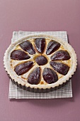 Red wine pear tart in baking tin