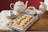 Puff pastry pear and raspberry tart to serve with tea