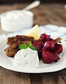 Cevapcici with beetroot and tzatziki