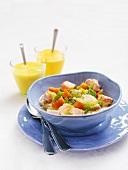 Fish soup with salmon, carrots, dill & leeks, saffron sauce