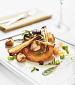 Quorn escalope with parsnips and mushrooms