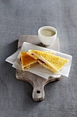 Toasted cheese and bacon sandwiches