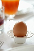 Boiled egg in egg cup