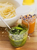 Red pepper pesto and mint pesto (to serve with spaghetti)