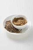 Caraway seeds and ground caraway