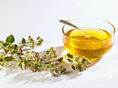 Blossom honey in a glass bowl