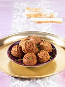 Falafel (chickpea dumplings from North Africa)