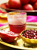 Pomegranate syrup, pomegrante and seeds