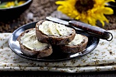 Fig bread with butter and pepper