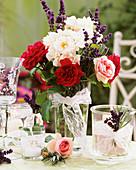 Arrangement of roses and lavender