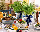 Herb quark, herb butter, boiled potatoes