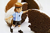 Chocolate cake with footballer