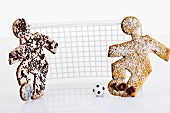 Footballer biscuits with chocolate sprinkles & grated coconut