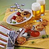 Football themed mini-pizzas, kebabs and remote control
