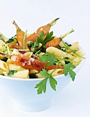 Penne with parsley and lime pesto and fried carrots