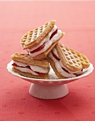 Heart-shaped waffles filled with strawberry cream