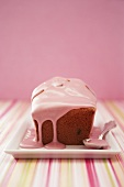 Mini-loaf cake with pink icing