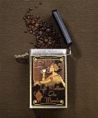 Coffee tin with coffee beans