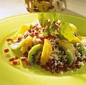 Bulgur wheat salad with fresh fruit