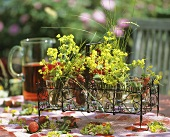 Summery table with fresh strawberries and lady's mantle