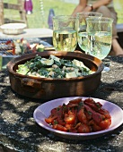 Tomato salad and courgette & spinach salad with beans
