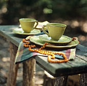 Coffee setting on a table in the open air