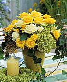 Arrangement of roses and hydrangeas