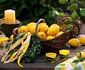 Basket of lemons and rosemary wreath