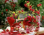 Table with romantic decorations in open air