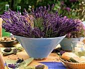 Freshly cut lavender in blue bowl