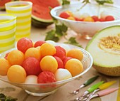 Melon balls in glass bowl